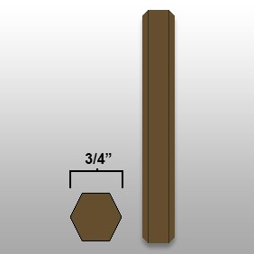 "3/4"" Hex Marker Crayon - Brown - Box of 50"