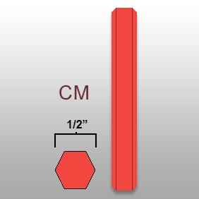 1/2' Hex Marker Crayon - CM - Lt Red - Box of 100