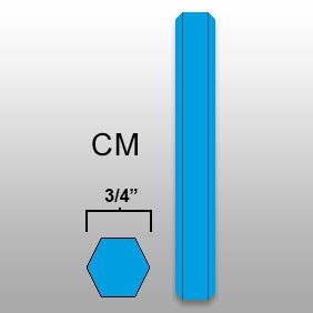 "3/4"" Hex Marker Crayon - CM - Lt Blue - Box of 50"